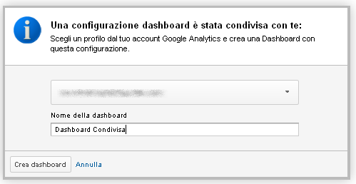 condivisione google analytics account dashboard